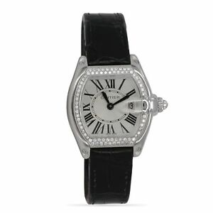 Cartier Roadster 18k White Gold with Diamond Bezel Perfect Ladies Designer Watch
