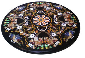 Round Black Antique Marble Inlay Pietra Dura Coffee Table Top Marquetry Art Work