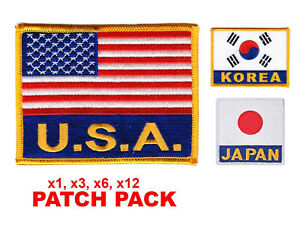 Flag Patch Pack USA KOREA Embroidered Patch Iron-on Sew 4