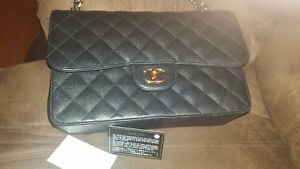 Chanel Black Quilted Caviar Jumbo Classic Double Flap Handbag authentic gold