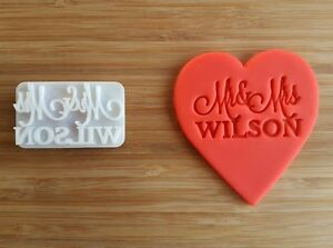 Custom Mr and Mrs Wedding cookie STAMP Fondant Embosser With Handle Personalized