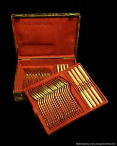 ANTIQUE FRENCH GOLD PLATED STERLING SILVER (VERMEIL) DESSERT SET 1850-1899