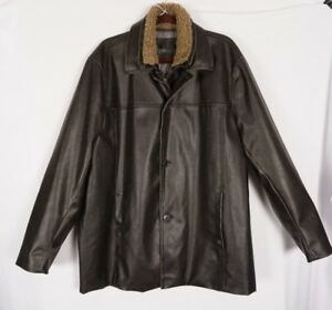 Calvin Klein Mens Leather Quilt Lined Sherpa Collar Brown Car Coat Jacket Large