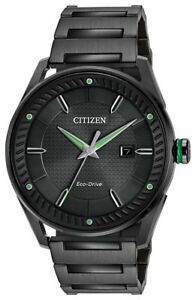 Citizen Eco Drive Men's CTO Black Green Accents Bracelet 42mm Watch BM6985 55E