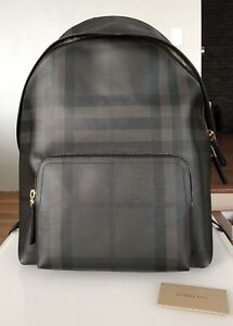 NWT BURBERRY LEATHER TRIM LONDON CHECK ABBEYDALE SIMPLE MEN BACKPACK