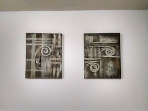 Set of 2 Vintage Original Modernist Abstract painting on canvas by Lee Reynolds