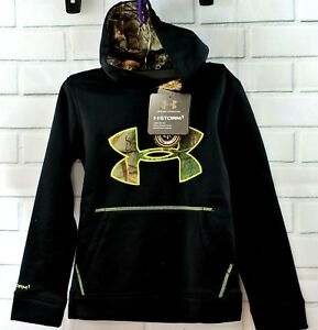 BOYS UNDER ARMOUR STORM 1 COLD GEAR HOODIE BLACK WITH REALTREE CAMO YXS NWT$55