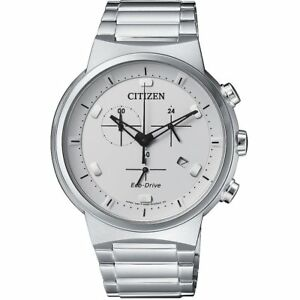 Citizen Eco Drive Men's Chronograph Silver Tone 41mm Watch AT2400 81A