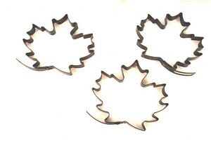 Maple Leaves Metal Pie Dough Cookie Cutters X 3 - Heavy Duty Fall Autumn