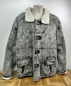 Vintage Members Only Acid Wash Jean Jacket Coat Horizon Express Sherpa XL Large
