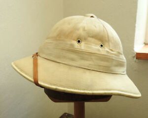 Original Military WW1 Pith Helmet Sun Tropical Hat 12 Fold Wolseley Style (5136)