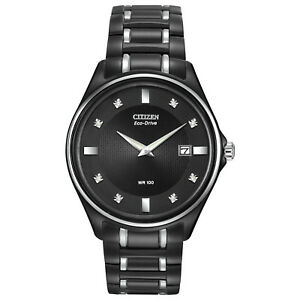 Citizen Eco Drive Men's Diamond Accents Black Bracelet 40mm Watch AU1054 54G