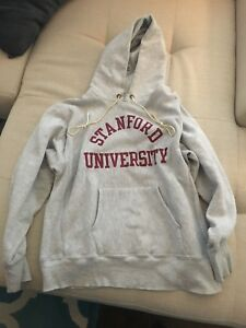 vtg large usa 80s reverse weave stanford university cardinals hoodie sweatshirt
