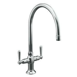Polished Stainless 2-Handle Single Hole High-Arc Traditional Kitchen Sink Faucet