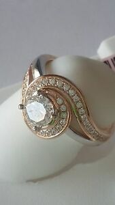 New ladies Rose Gold plated .925 Sterling Silver cocktail Ring Cz Stones Size 6