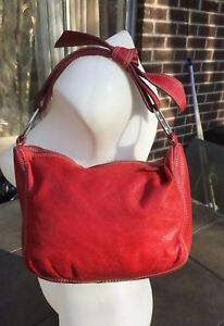 MIU MIU red super soft leather small handbag wstitching & bow