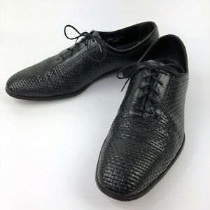 Mens Size 10.5 B Florsheim Dress Shoes Black Oxfords Basket Weave Designer