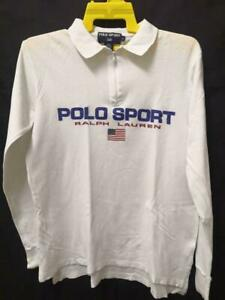 Vintage Polo Sport Ralph Lauren shirt White Long Sleeve Spell Out size M