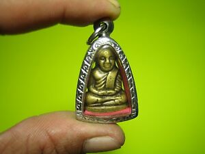 BE 2515 Old Brass Statue Phra LP NGERN Thai Buddha Amulet Wealth Authentic