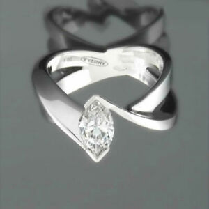 LADY DESIGNER MARQUISE DIAMOND RING 2.03 CARAT 18 KT WHITE GOLD SIZE 6.5 8 9