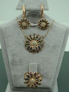 Turkish Handmade Jewelry 925 Sterling Silver Multi Stone Ladies' Earring Set