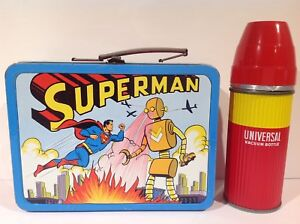 1954 UNIVERSAL SUPERMAN ERROR LUNCH BOX WITH ORIGINAL THERMOS VINTAGE  1 of 1?