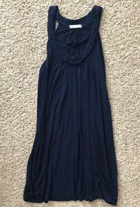 One Clothing Size SMALL Navy Blue Tunic Tank Top Dress Braided Neckline
