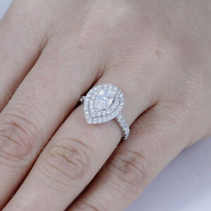 Real 10k White Gold 1.50Ct Pear Cut Diamond Double Halo Engagement Wedding Ring