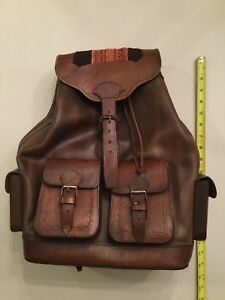 Rare Vintage Leather Native South American Handmade BACKPACK ETHNIC Peruvian