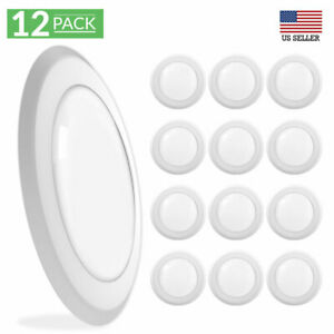 Sunco Lighting 12 Pack 5 Inch / 6 Inch Flush Mount Disk LED 5000K (Daylight)