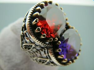 Turkish Handmade Jewelry 925 Sterling Silver Multi Stone Men's Ring Sz 8