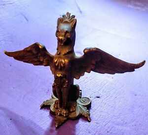 Antique Bronze Griffin Monster Beast Devil Dog Figural Decorative Arts Hardware
