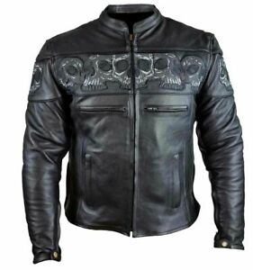 Men's Motorcycle Premium Leather Jacket With Reflective Skulls and Gun Pockets