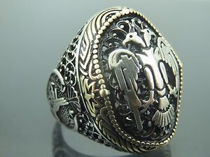 Turkish Handmade Jewelry 925 Sterling Silver Eagle Design Men's Ring Sz 11
