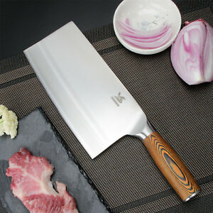 BIGSUNNY 8quot; Chinese Kitchen Knife Meat Cleaver Vegetable Knife Pakka Wood Handle