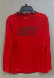 Nike Dry Fit Long Sleeve Red T Shirt  Size Boys Large Black Nike Logo on Front
