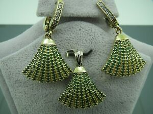 Turkish Handmade Jewelry 925 Sterling Silver Emerald Stone Ladies' Earring Set