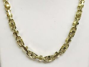 18k Solid Yellow Gold Anchor Bullet chain necklace 7.9 MM 115 grams 20