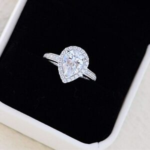 Real 10K White Gold Ladies Engagement Wedding Ring Pear & Round Cut Diamond