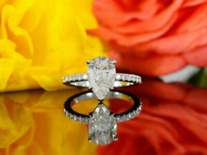 Real 10K White Gold Women's Engagement Wedding Ring Pear & Round Cut Diamond