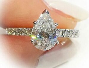 2.90 Carat White Pear Cut Diamond Engagement Ring in Real Solid 10K White Gold