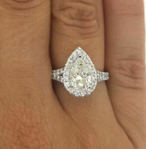 3.00 Carat White Pear Cut Diamond Engagement Ring in Real 10K White Real Gold