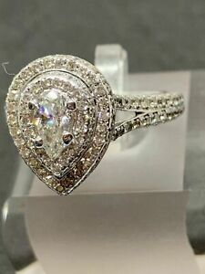 Real 10K White Gold Women's Ladies Engagement Wedding Ring Pear Cut Diamond