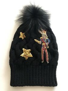 DOLCE & GABBANA CRYSTALS SEQUINNED CASHMERE SILVER FOX FUR WINTER KNITTED HAT