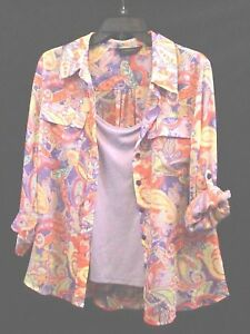 Investments Sz Medium Shirt & Camisole Blouse Top Lilac Roll Tab Sleeve Paisley