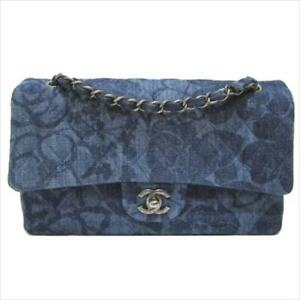 CHANEL A01112 Camellia Denim Blue Chain Shoulder Hand Bag Used Rare Desi