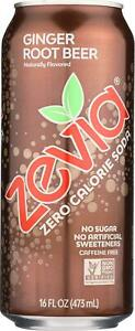 ZEVIA-Zero Calorie - Ginger Root Beer - Tall Girls Can, Pack of 12 ( 16 FZ )