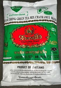 200 Gram THAI GREEN TEA MIX MILK TEA NUMBER ONE BRAND CHATRAMUE HOT COLD DRINK.