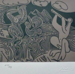 PABLO PICASSO Dancers and musician HAND NUMBERED 217333 signed LITHOGRAPH $195.00