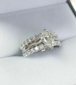 3 PSC Set Wedding Bridal Set Ring 1.50 Ct Pear Shaped Diamond 10K White Gold